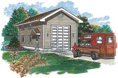 0-Bedroom, 648 Sq Ft Garage Home Plan - 167-1411 - Main Exterior