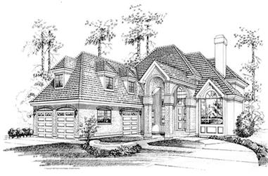 3-Bedroom, 3567 Sq Ft European House Plan - 167-1412 - Front Exterior