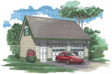 1-Bedroom, 672 Sq Ft Garage House Plan - 167-1414 - Front Exterior