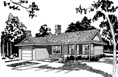 3-Bedroom, 1319 Sq Ft Ranch Home Plan - 167-1416 - Main Exterior
