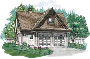 2-Car, 816 Sq Ft Garage House Plan - 167-1418 - Front Exterior