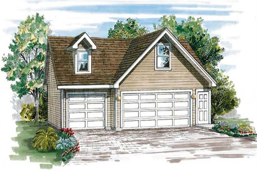 1-Bedroom, 516 Sq Ft Garage House Plan - 167-1419 - Front Exterior