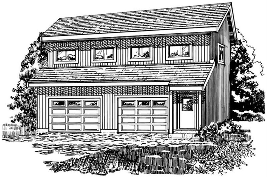 front elevation of this 1-Bedroom,468 Sq Ft Plan -468