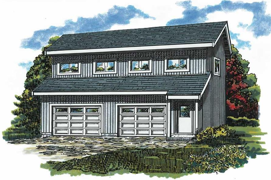 1-Bedroom, 468 Sq Ft Garage House Plan - 167-1420 - Front Exterior
