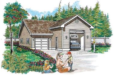 1-Bedroom, 984 Sq Ft Garage Home Plan - 167-1421 - Main Exterior