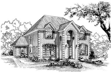4-Bedroom, 2808 Sq Ft Colonial House Plan - 167-1423 - Front Exterior