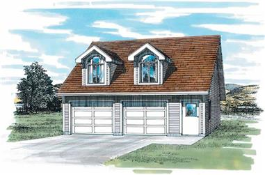 1-Bedroom, 652 Living Sq Ft Garage with Apartment Plan - 167-1430 - Front Exterior