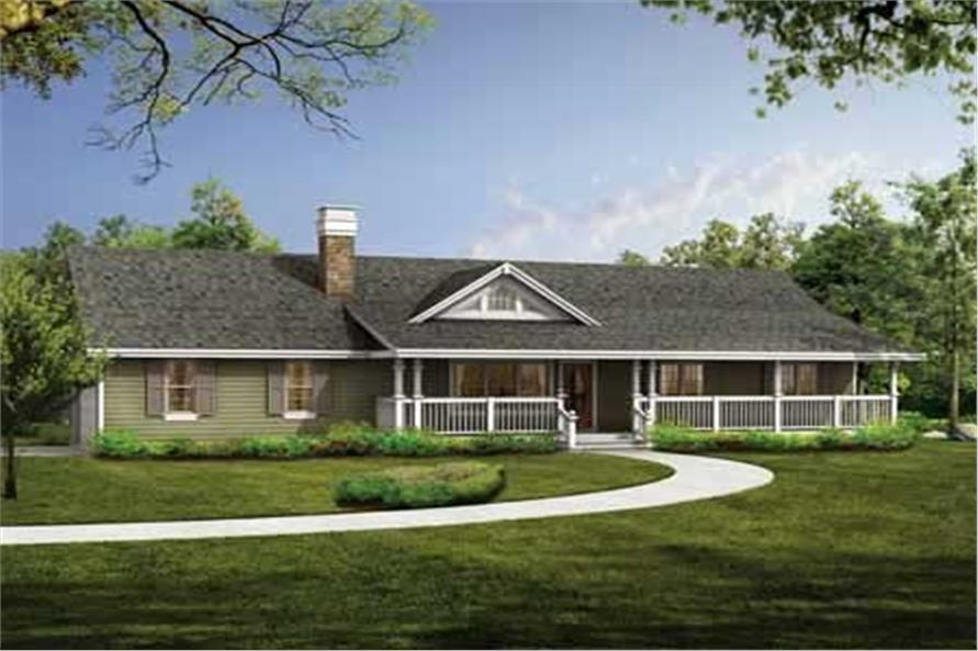 3-Bedroom, 1408 Sq Ft Country House Plan - 167-1431 - Front Exterior