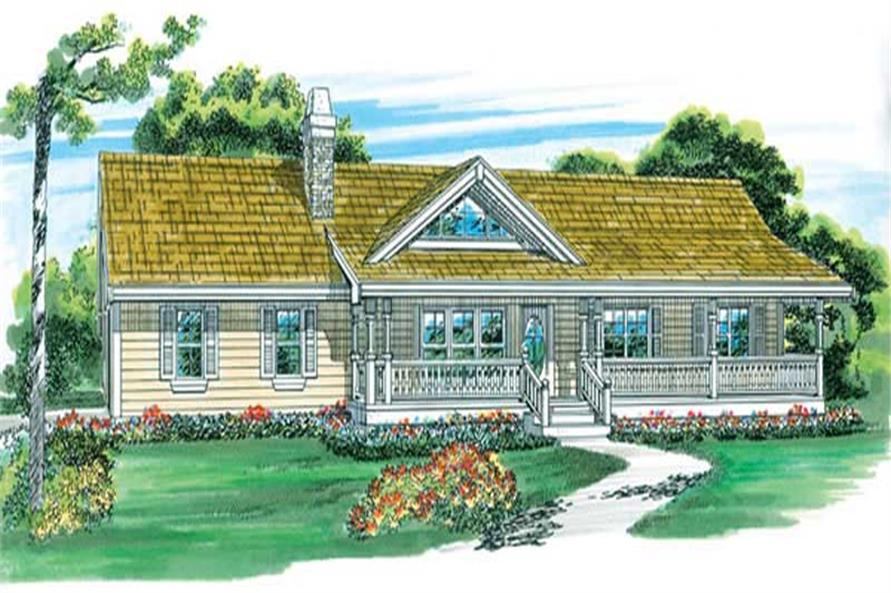Home Plan Front Elevation of this 3-Bedroom,1408 Sq Ft Plan -167-1431