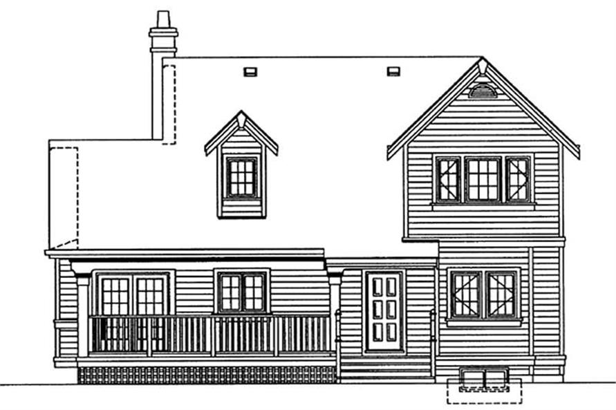 Home Plan Rear Elevation of this 3-Bedroom,1583 Sq Ft Plan -167-1432