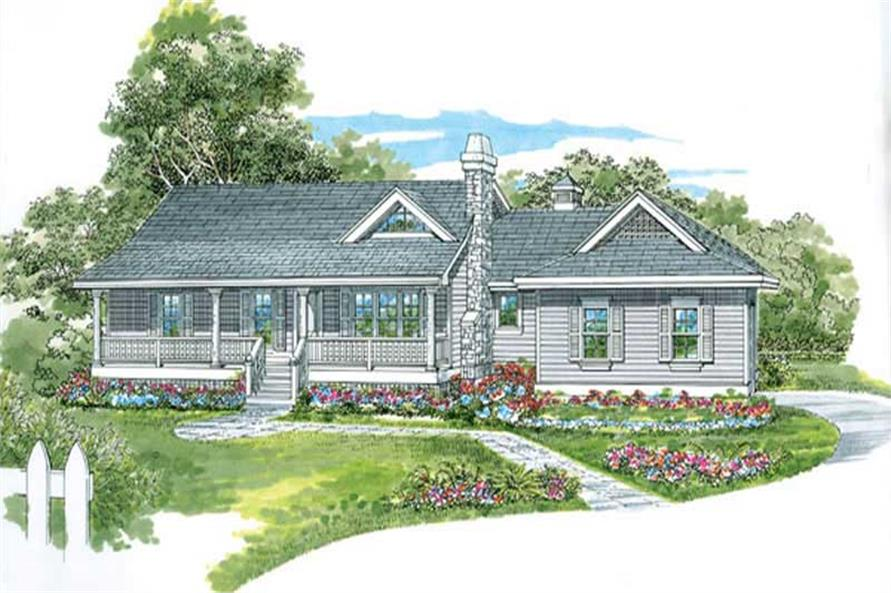 3-Bedroom, 1298 Sq Ft Country House Plan - 167-1443 - Front Exterior