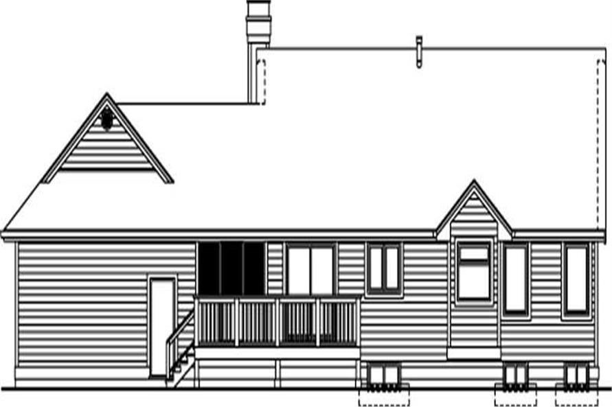 Home Plan Rear Elevation of this 3-Bedroom,1298 Sq Ft Plan -167-1443