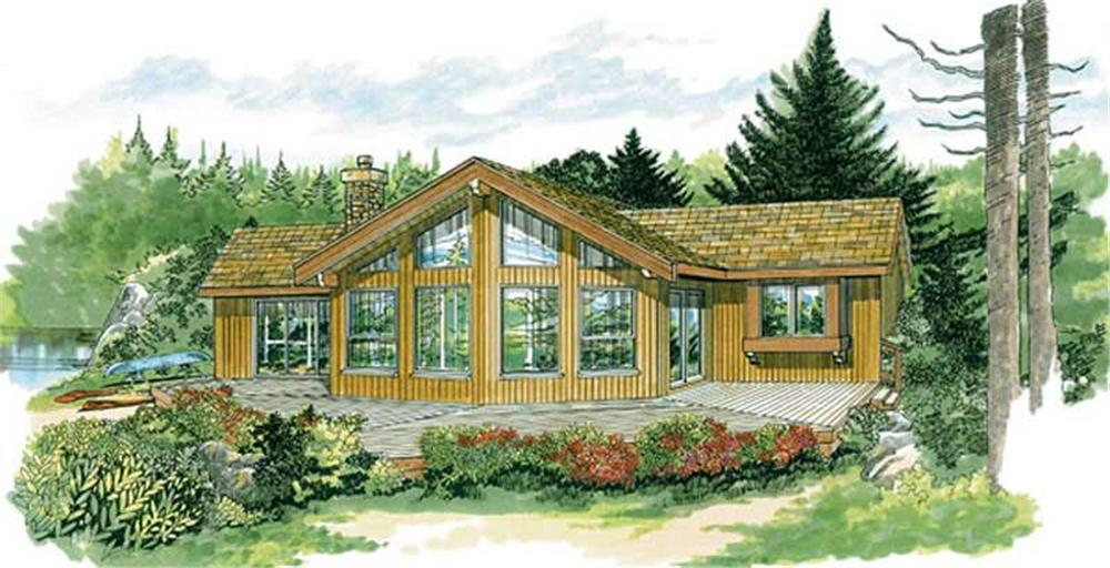 Front elevation of cabin home (ThePlanCollection: House Plan #167-1445)