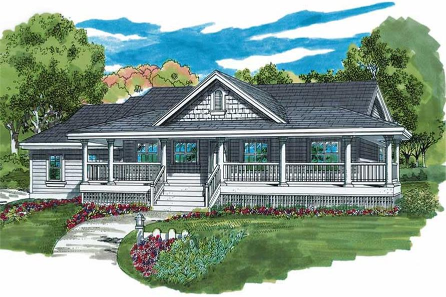 3-Bedroom, 1578 Sq Ft Country House Plan - 167-1449 - Front Exterior