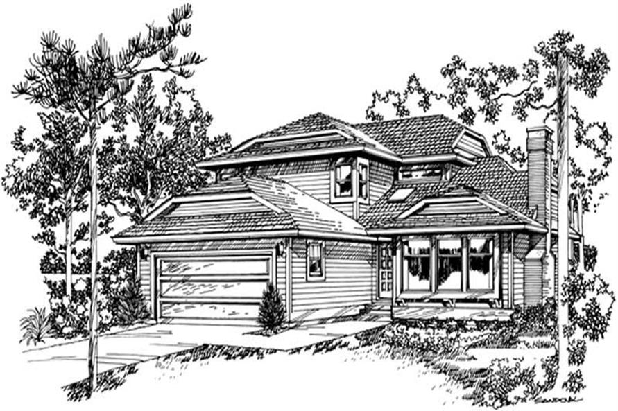 3-Bedroom, 2074 Sq Ft Contemporary House Plan - 167-1453 - Front Exterior