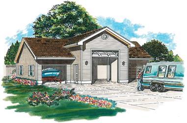 1-Bedroom, 1320 Sq Ft Garage Home Plan - 167-1474 - Main Exterior
