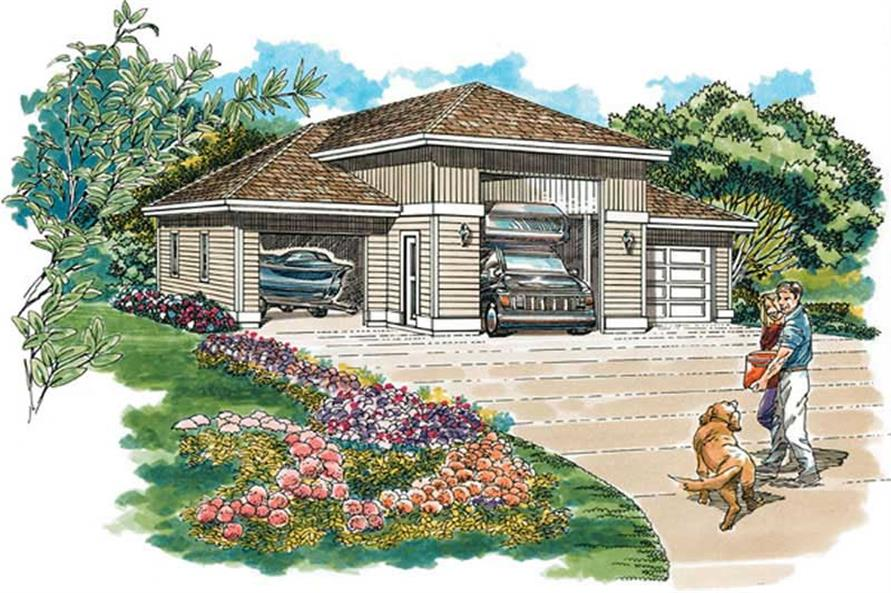 1-Bedroom, 1320 Sq Ft Garage Home Plan - 167-1478 - Main Exterior