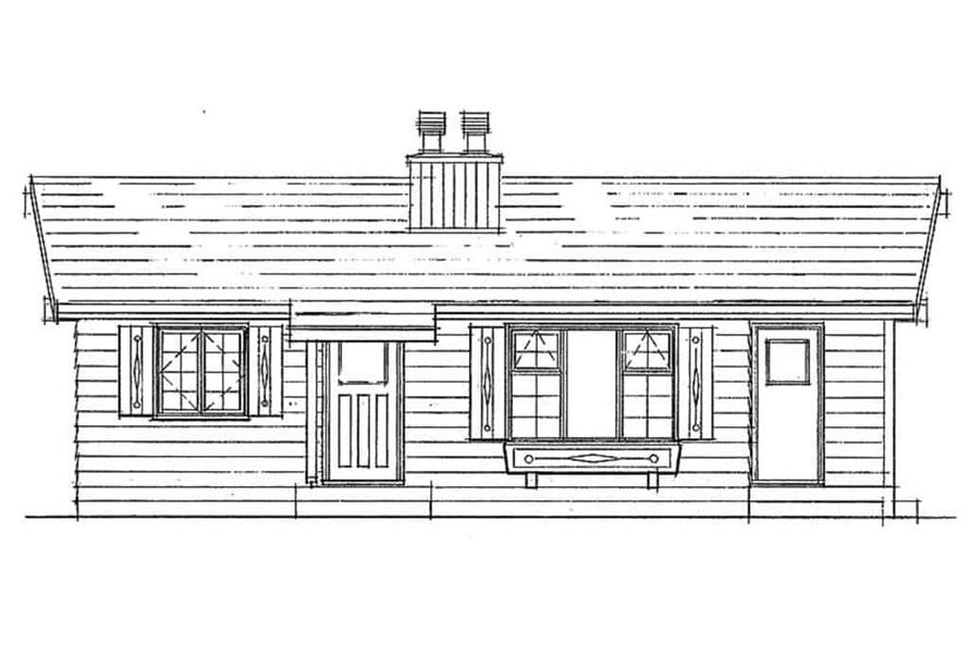 Home Plan Front Elevation of this 2-Bedroom,839 Sq Ft Plan -167-1480
