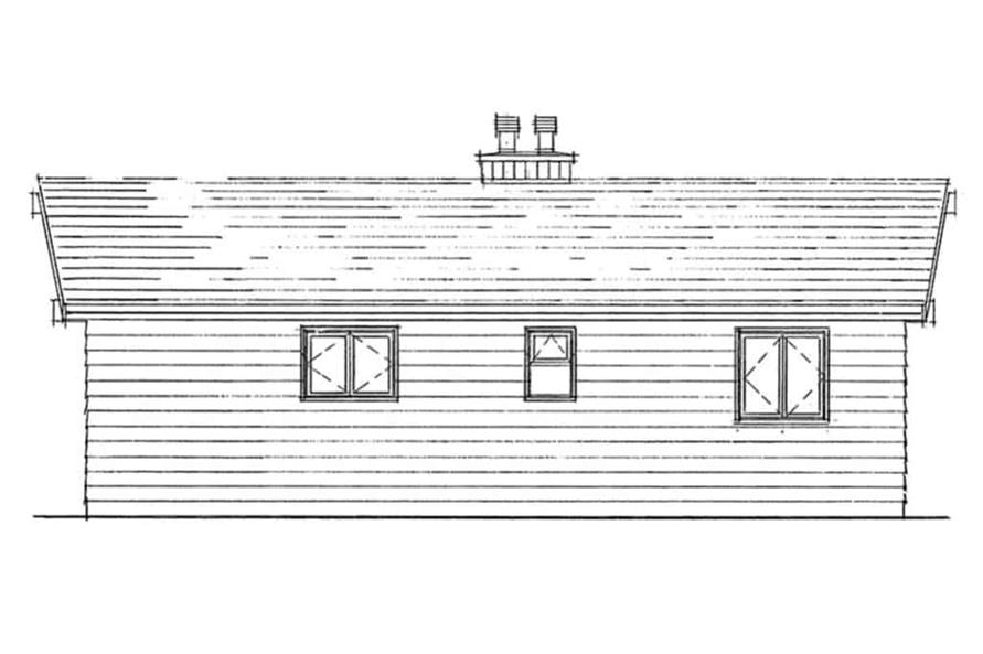 Home Plan Rear Elevation of this 2-Bedroom,839 Sq Ft Plan -167-1480