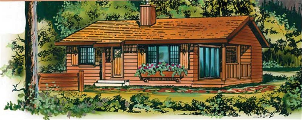 Front elevation of small vacation home (ThePlanCollection: House Plan #167-1480)