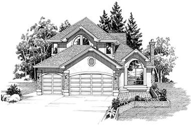3-Bedroom, 2826 Sq Ft European House Plan - 167-1481 - Front Exterior