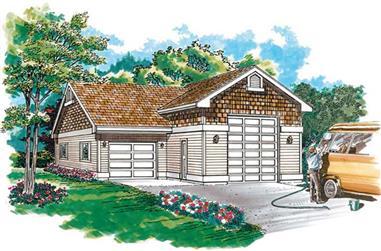 1-Car and RV, 984 Sq Ft Garage Home Plan - 167-1483 - Main Exterior