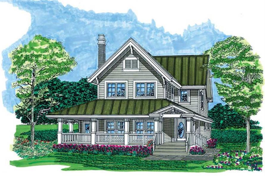 3-Bedroom, 1568 Sq Ft Farmhouse House Plan - 167-1484 - Front Exterior
