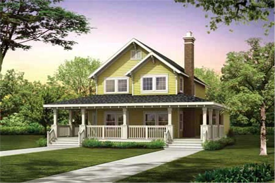 3-Bedroom, 1479 Sq Ft Farmhouse House Plan - 167-1486 - Front Exterior