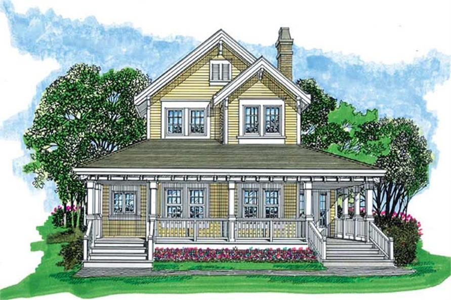 Home Plan Front Elevation of this 3-Bedroom,1479 Sq Ft Plan -167-1486