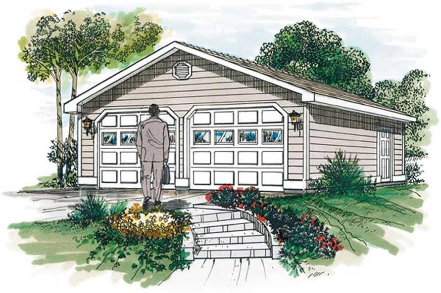 0-Bedroom, 50 Sq Ft Garage Home Plan - 167-1490 - Main Exterior