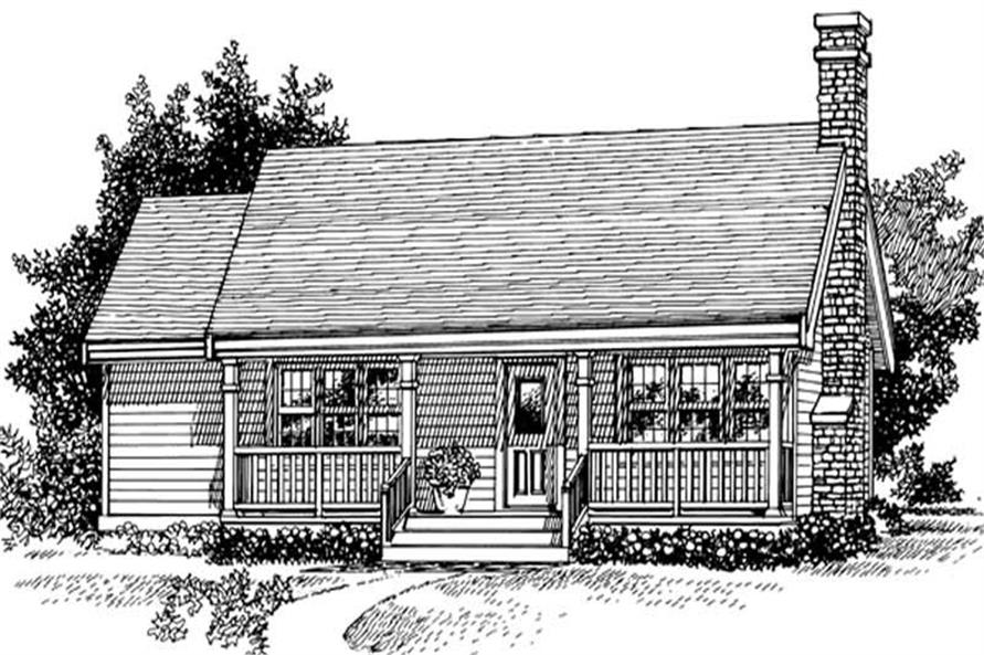 front elevation of this 3-Bedroom,988 Sq Ft Plan -988