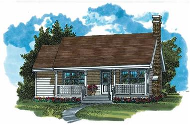 3-Bedroom, 988 Sq Ft Ranch House Plan - 167-1492 - Front Exterior