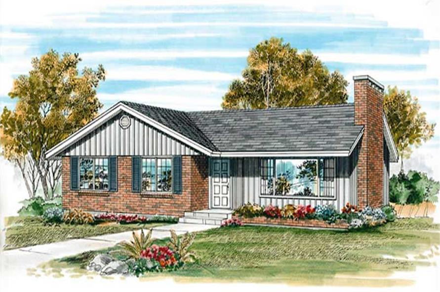 3-Bedroom, 1139 Sq Ft Ranch House Plan - 167-1493 - Front Exterior