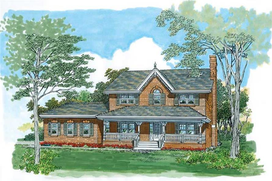 Front elevation of Farmhouse home (ThePlanCollection: House Plan #167-1497)