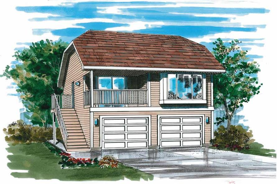1-Bedroom, 484 Sq Ft Garage Home Plan - 167-1502 - Main Exterior