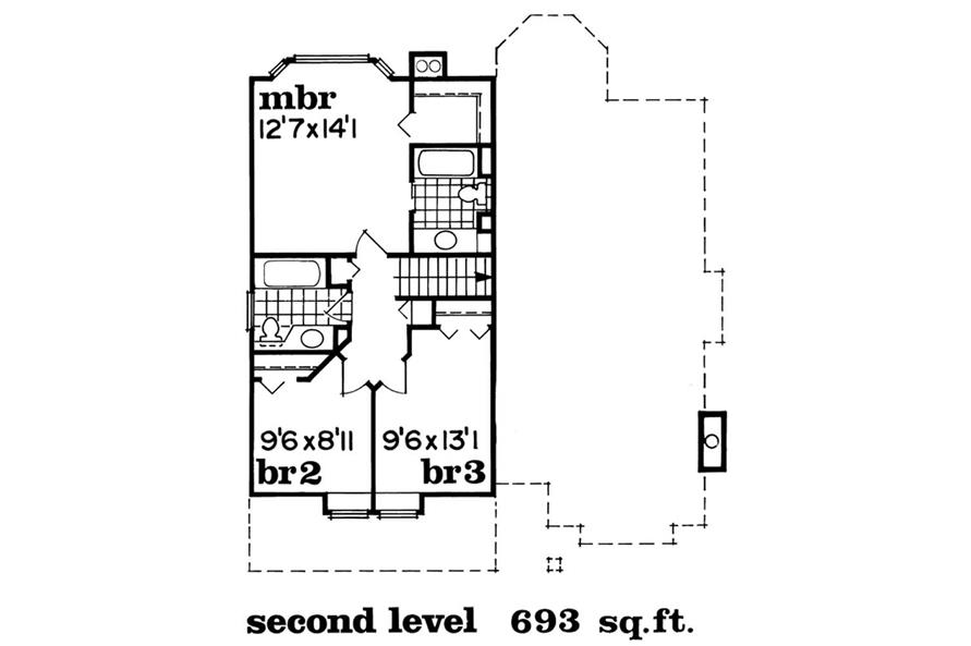 Upper Level Floor Plan of this 3-Bedroom,1710 Sq Ft Plan -1710