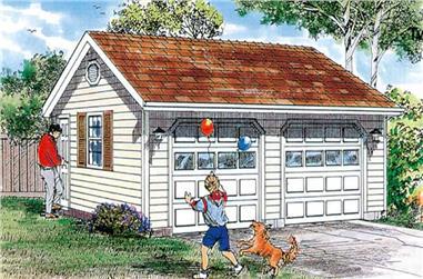 2-Car, Detached, 528 Sq Ft Garage Home Plan - 167-1509 - Main Exterior