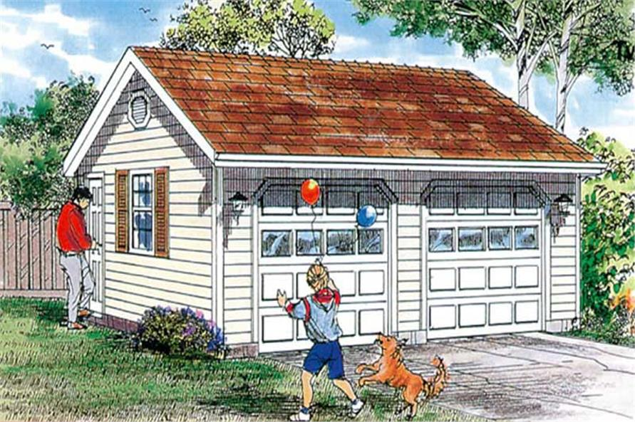 0-Bedroom, 528 Sq Ft Garage Home Plan - 167-1509 - Main Exterior