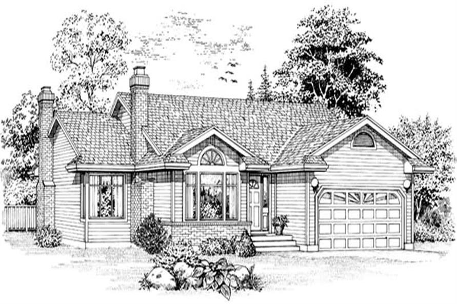 3-Bedroom, 1579 Sq Ft Ranch House Plan - 167-1517 - Front Exterior