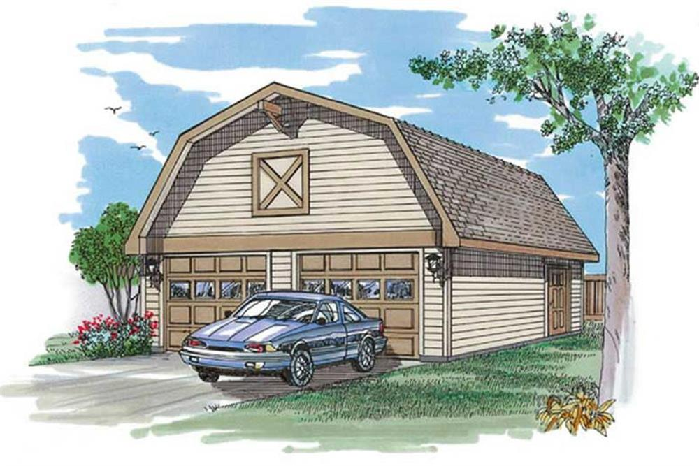 Color rendering of Garage plan (ThePlanCollection: House Plan #167-1521)