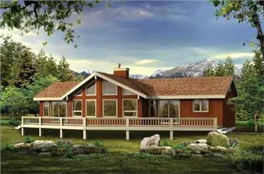 3-Bedroom, 1230 Sq Ft Log Cabin Home Plan - 167-1524 - Main Exterior