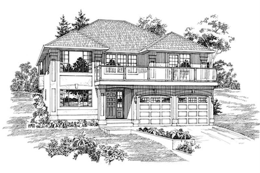 3-Bedroom, 1945 Sq Ft Contemporary House Plan - 167-1526 - Front Exterior