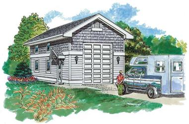 0-Bedroom, 648 Sq Ft Garage Home Plan - 167-1537 - Main Exterior
