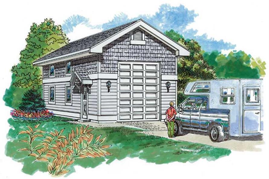 0-Bedroom, 648 Sq Ft Garage Home Plan - 167-1537 - Main Exterior