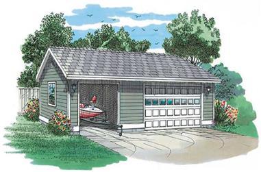 2-Car, Detached, 1008 Sq Ft Garage Home Plan - 167-1539 - Main Exterior