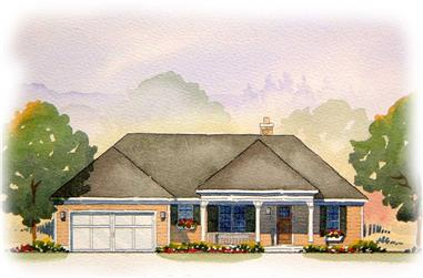 This is a colored elevation of these Ranch Home Plans.