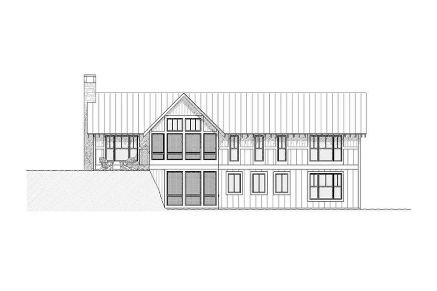 168-1001: Home Plan Rear Elevation