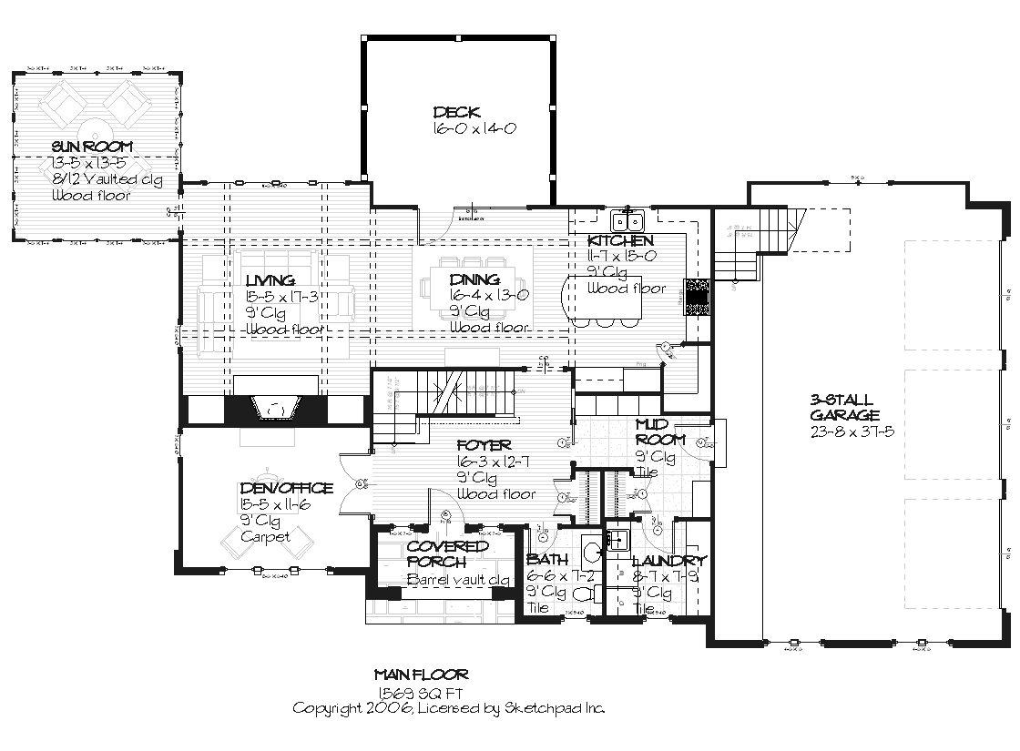 168-1008 house plan main level