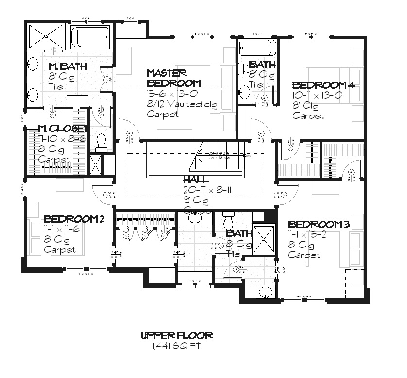 168-1008 house plan upper level