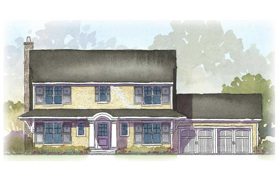 This is a colored rendering of these Traditional House Plans.